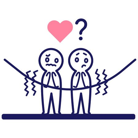Illustration of two scared deformed simple humans with a heart and a question mark