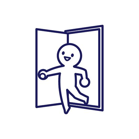 Illustration of a deformed simple human trying to open the door and go out