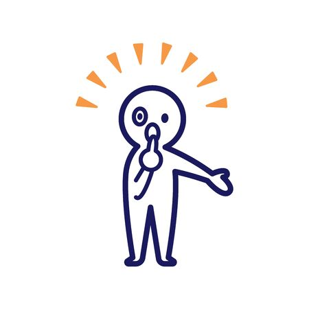 Illustration of a deformed simple human being pointing at himself, spreading his left hand and surprised