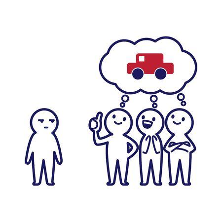 Illustration of three deformed simple humans who think of a car and a deformed simple human watching it