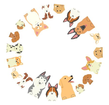 Illustration of a round frame in which various types of dogs with their front paws are looking into Vector Illustration