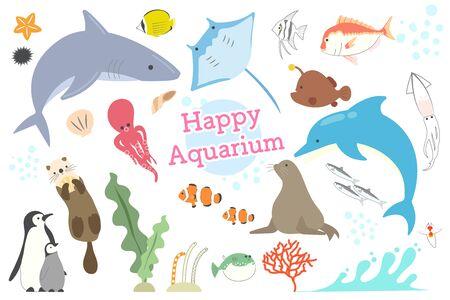 Set of illustrations of various fish and mammals, seaweeds, mollusks in the aquarium 일러스트