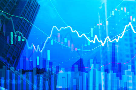 Stock Graph candle stick with volume and parabolic indicator, business financial or stock exchange market concept