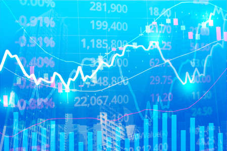 Stock market graph in modern building city sky, dark color background, concept for stock trading and financial markets in blue background