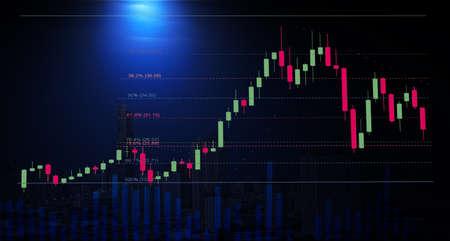 Stock graph chart with fibonacci indicators and volume bar with cityscape night view, stock chart analysis by fibonacci concept