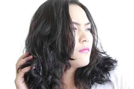 woman sleek her hair