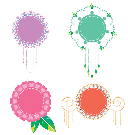 pastel colour: abstract floral label pastel colour Illustration