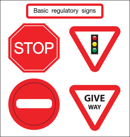 give way: basic traffic sign give way and stop