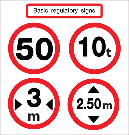 regulatory: basic traffic sign limit weight and hight