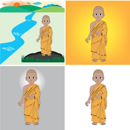 lanscape: monk sa wus sa di charecter in bhuddha story Illustration