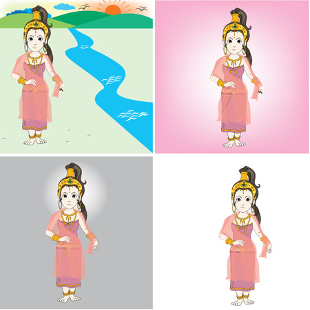 lanscape: queen sri ri ma ha ma yai carecter in bhuddha srory Illustration