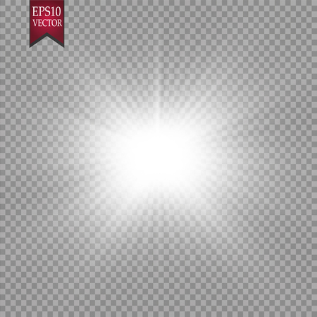 Glow light effect. Starburst with sparkles on transparent background. Vector illustration. Sun. EPS 10