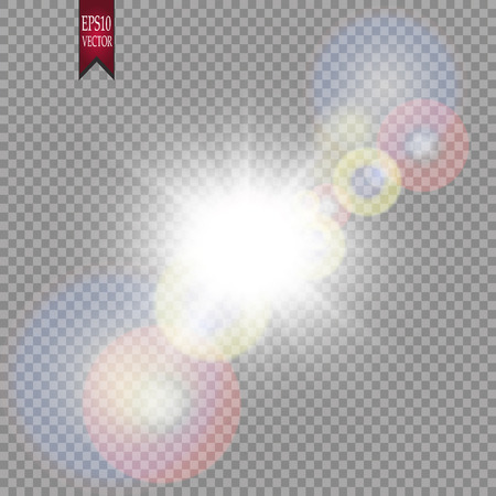 Bright light effect with multi-colored highlights. Iridescent flare from the lens on a transparent background. Illustration