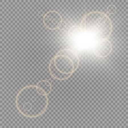 Vektor transparentes Sonnenlicht spezielle Linseneffekt Lichteffekt. Sonnenblitz mit Strahlen und Scheinwerfer.