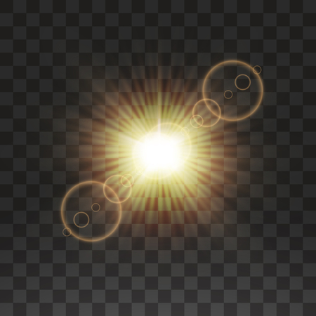 Vector transparent sunlight special lens flare light effect. Sun flash with rays and spotlight.