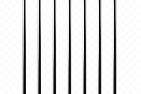 Realistic metal prison grilles. Isolated on a transparent background. Thuster machine, iron prison cell.metallic product.Vector ilustration . Standard-Bild - 124737425