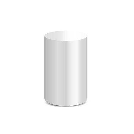White cylinder on white background. Vector illustration