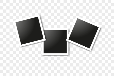 Set of realistic square frames, Vector Photo frame mockup design. Vector frames photo collage on transparent background. Vector illustration  イラスト・ベクター素材