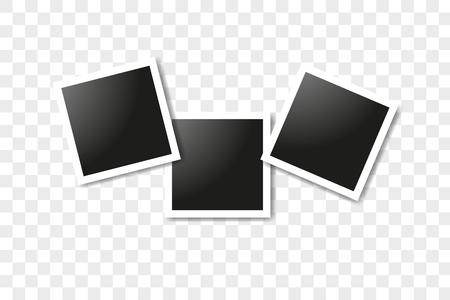 Set of realistic square frames, Vector Photo frame mockup design. Vector frames photo collage on transparent background. Vector illustration Illustration