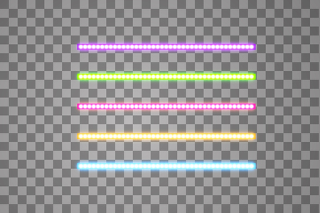 Shining led vector stripes, neon illumination on transparent background, set of pink, yellow, purple, blue, green glowing decorative tapes of diode ecological lamps light effect for banners, web-sites.  イラスト・ベクター素材