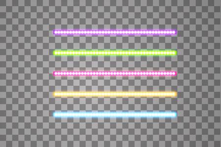 Strisce vettoriali a led brillanti, illuminazione al neon su sfondo trasparente, set di nastri decorativi incandescenti rosa, gialli, viola, blu, verdi di lampade ecologiche a diodi effetto luce per banner, siti web.