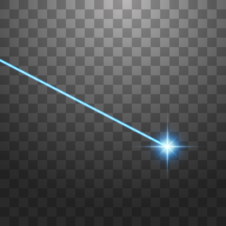 Abstract blue laser beam. Isolated on transparent black background. Vector illustration. Illustration