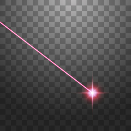 Abstract red laser beam. Isolated on transparent black background. Vector illustration. Illustration
