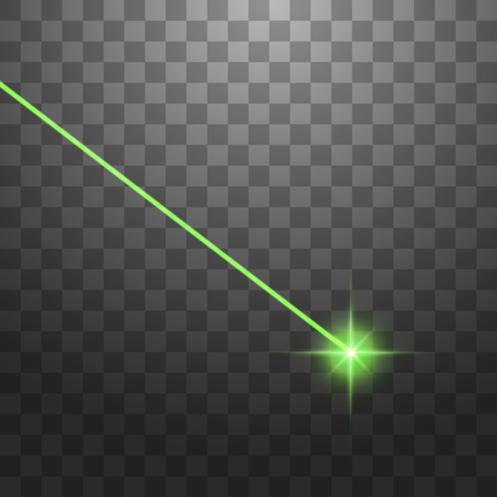 Abstract green laser beam. Isolated on transparent black background. Vector illustration. 向量圖像