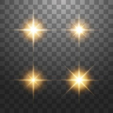 Kreatives Konzept Vektorsatz von leuchtenden goldenen Lichteffektsternen platzt mit Funkeln auf transparentem Hintergrund.