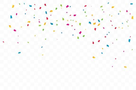Colorful Confetti Star On Transparent Background. Celebration Party. Vector Illustration. Ilustração