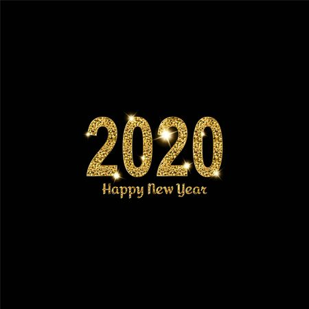 Happy New Year gold number 2020. Bright golden design with sparkle. Holiday glitter typography for Christmas banner, calendar, decoration, greeting card Vector illustration. 일러스트