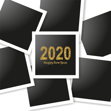 Happy New Year gold number 2020 and frames photo collage on white background. Bright golden design with sparkle. Holiday glitter typography for Christmas banner, calendar, decoration, greeting card Vector illustration