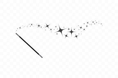 Zauberstab mit Sternen. Spur von schwarzem Staub. Magischer abstrakter Hintergrund lokalisiert auf transparentem Hintergrund. Wunder und Magie. Flaches Design der Vektorillustration. Vektorgrafik