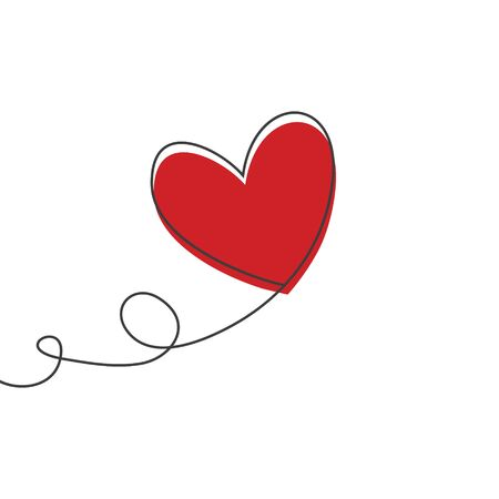 Heart shaped balloon in continuous drawing lines and glitch red heart in a flat style in continuous drawing lines. Continuous black line. The work of flat design. Symbol of love and tenderness