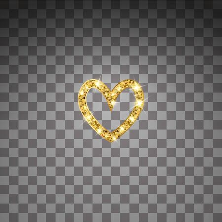 Gold glitter vector heart. Golden sparcle St. Valentines day card. Luxouy design element. Amber particles on transparent background.