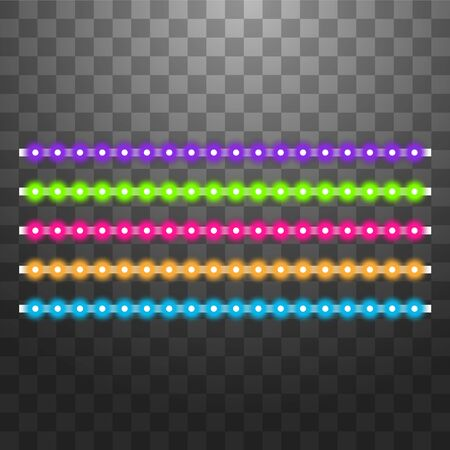 Various LED stripes on a black and transparent background, glowing LED garlands  イラスト・ベクター素材