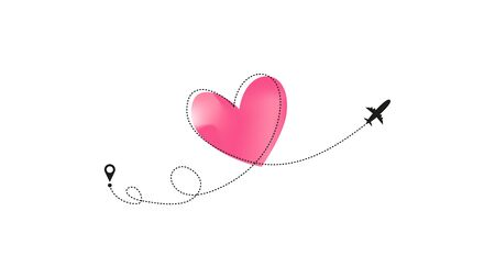 Love airplane route with pastel neon pink Heart dashed line trace and plane routes isolated on white background. Romantic wedding travel, Honeymoon trip. Hearted plane path drawing. Vector illustration