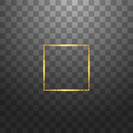 Gold shiny glowing vintage frame isolated on transparent background. Golden luxury realistic rectangle border. Vector illustration