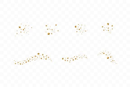 Set of golden falling stars. Cloud of golden stars isolated on transparent background. Vector illustration. Meteoroid, comet, asteroid, stars