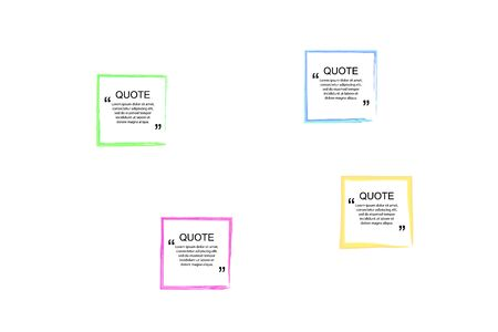 Vector Quote Frames Set, Colorful Watercolor Spots on the Background, Isolated on White Design Elements Collection.