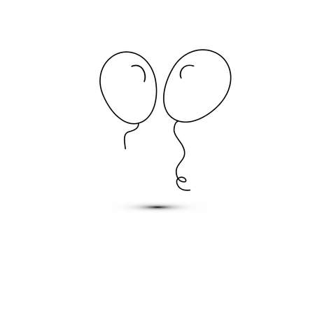 Simple flat style icon of beautiful two balloons for the feast of love on happy mothers day. Vector illustration.