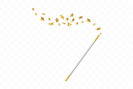 Magic wand with 3d stars on transparent background. Trace of gold dust. Magic abstract background isolated. Miracle and magic. Vector illustration.