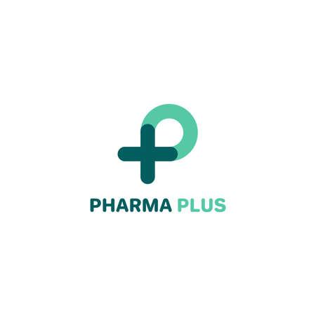 P logo, P with plus logo. Medical logo