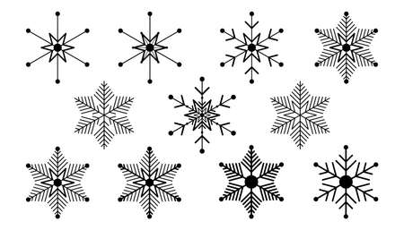 Vector big set of black Snowflakes design element on white background. Different designs. 向量圖像