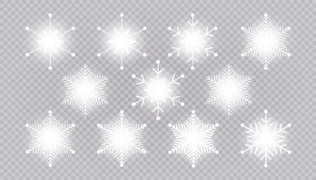 Vector big set of white light Snowflakes design element on transparent background. Different designs. 向量圖像