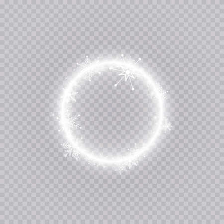 Round winter snow frame border with stars, sparkles and snowflakes on transparent background. Festive christmas banner, new year greeting card, postcard or invitation vector illustration Vector Illustratie