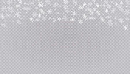 White snow flies on a transparent background. Christmas snowflakes. Winter blizzard background illustration.