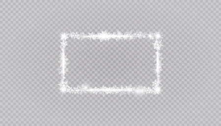 Rectangular winter snow frame border with stars, sparkles and snowflakes on transparent background. Festive christmas banner, new year greeting card, postcard or invitation vector illustration