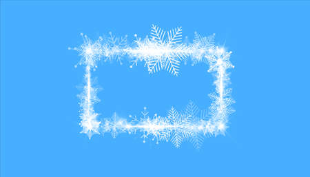 Rectangular winter snow frame border with stars, sparkles and snowflakes on blue background. Festive christmas banner, new year greeting card, postcard or invitation vector illustration