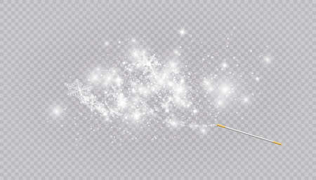Magic wand with heart shaped snowflakes in a flat style in continuous drawing lines. Trace of white dust. Magic abstract background isolated on on transparent background. Miracle and magic. Vector illustration flat design